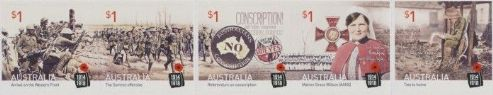 AUS SG4565-9 Centenary of WWI: 1916 self-adhesive set of 5 from booklet (exSB548)